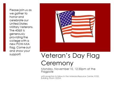 Veteran's Day Flag Ceremony Flyer 10.28