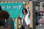Shoreline Community College President Cheryl Roberts at the June 20, 2015 opening day of the Shoreline Farmers Market at its new location in the Aurora Square Sears parking lot. (Photo gallery)