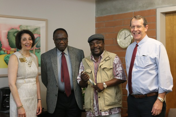 (From left to right) President Cheryl Roberts, Professor Larry Clarke, SCC alum Stanley Machokoto, and VP of Academic and Student Affairs Bob Francis.