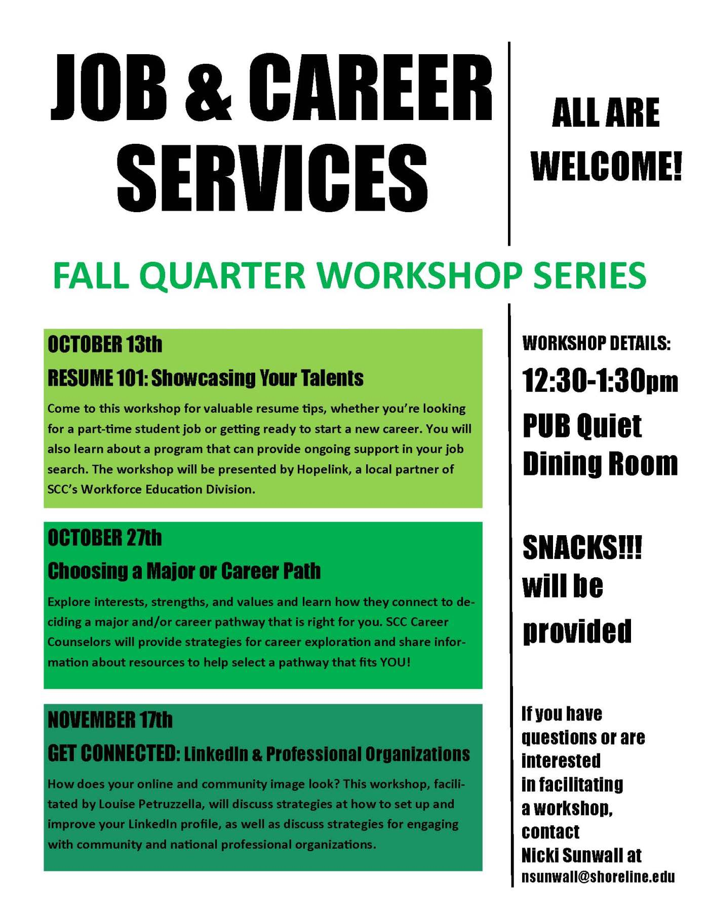 reminder tell your students choosing a major or career path reminder tell your students choosing a major or career path workshop tues oct 27 day at a glance