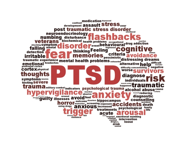 PTSD symbol with a brain outline isolated on white background. Anxiety disorder symbol conceptual design