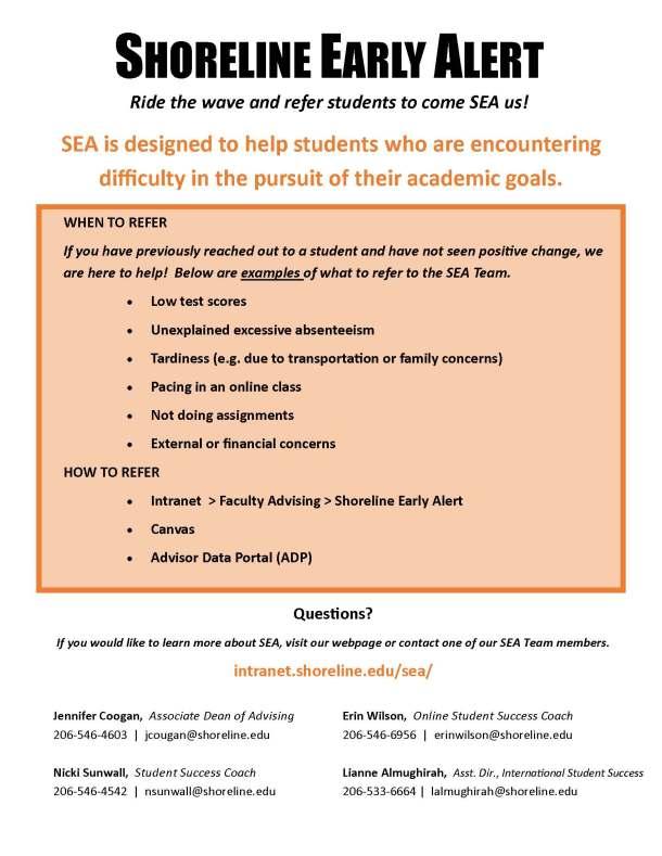 Shoreline Early Alert (SEA) Flyer 2016
