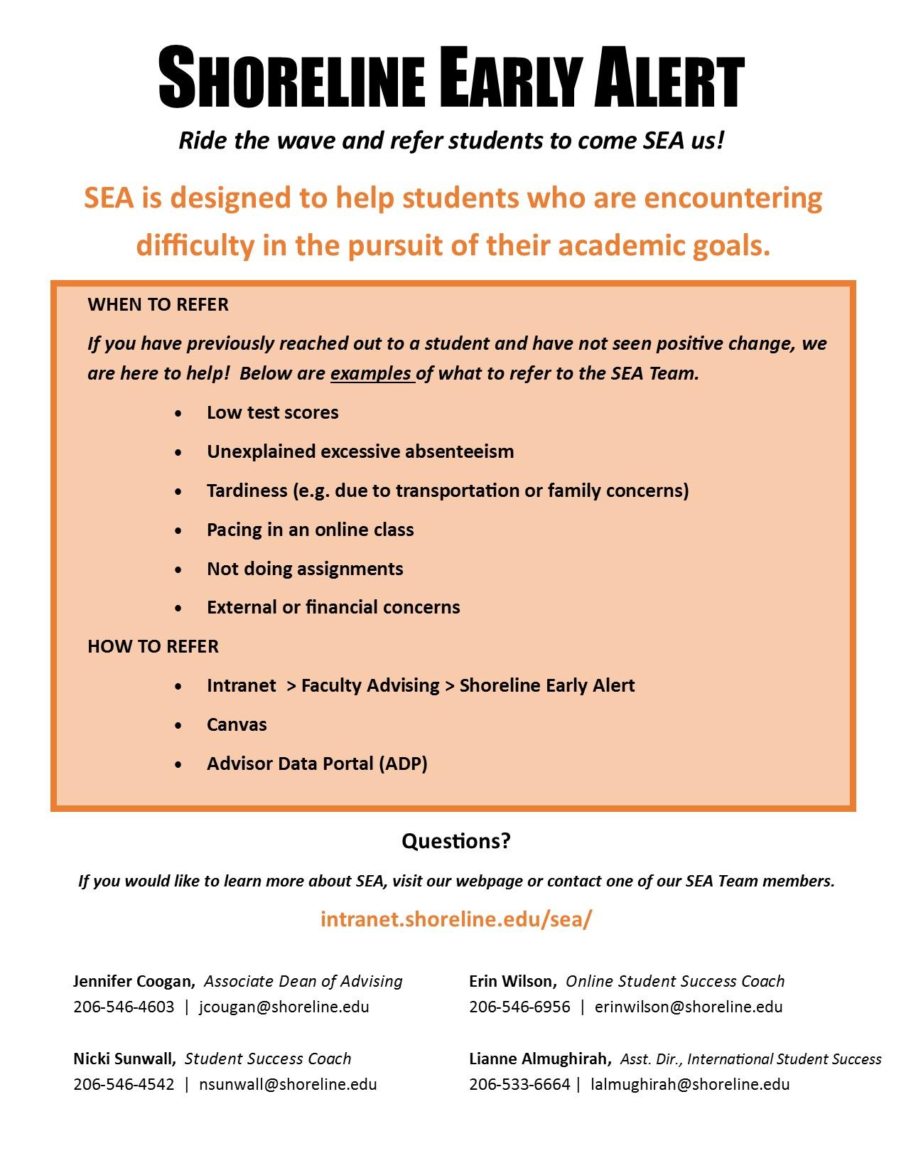 Shoreline Early Alert (SEA) Flyer 2016[2]