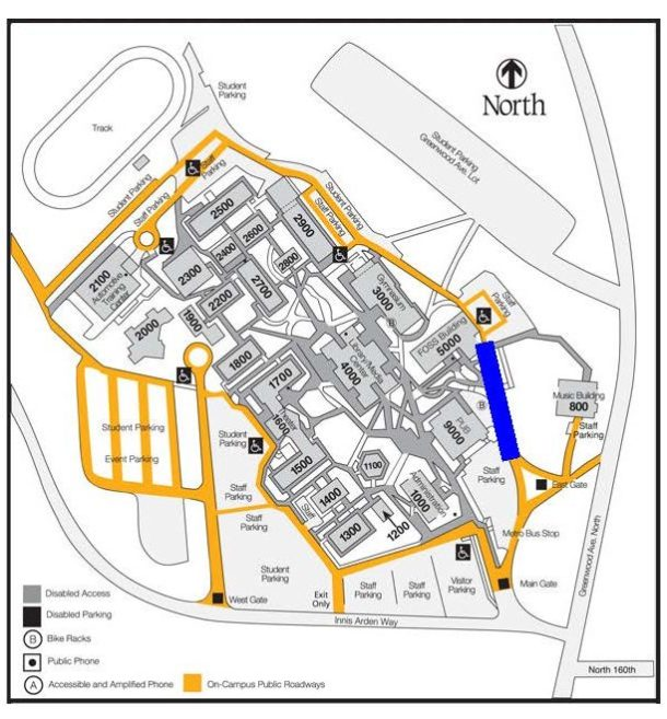 Campus map indicating road closure area